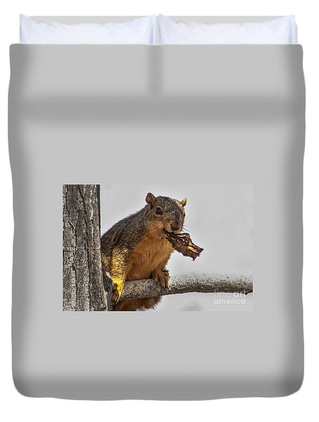 Squirrel Lunch Time Duvet Cover by Robert Bales