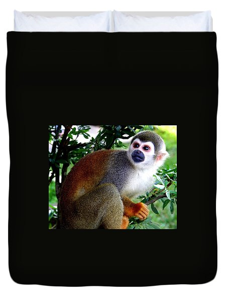 Duvet Cover featuring the photograph Squirrel Monkey by Laurel Talabere