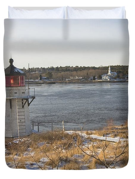 Squirrel Point Lighthouse Kennebec River Maine Duvet Cover by Keith Webber Jr