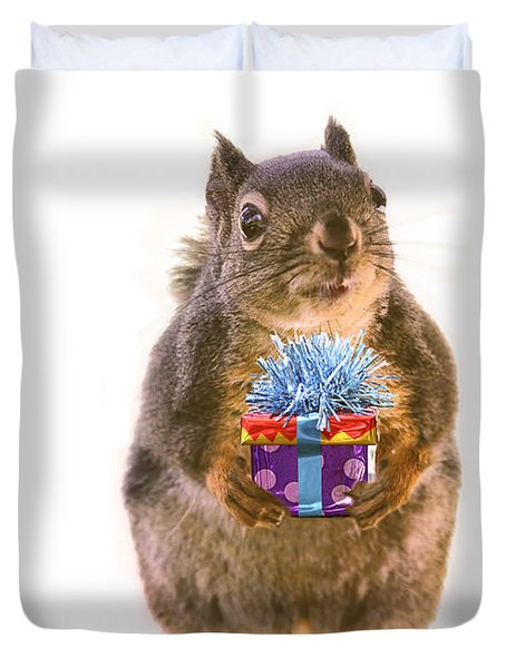Squirrel With Gift Duvet Cover by Peggy Collins