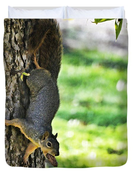 Squirrel With Pecan Duvet Cover