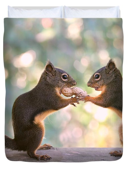 Squirrels That Share Duvet Cover by Peggy Collins