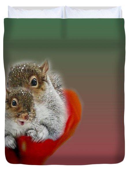Squirrels Valentine Duvet Cover