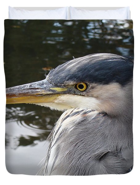 Duvet Cover featuring the photograph Sr Heron  by Cheryl Hoyle