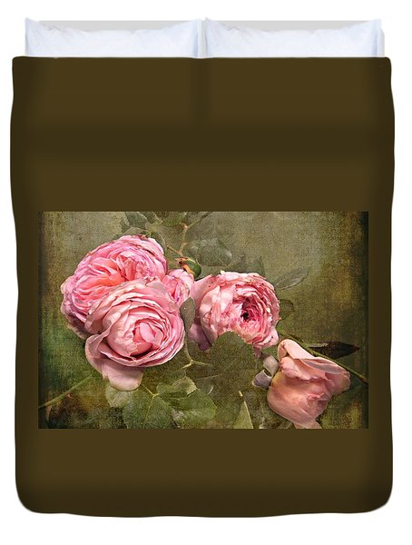 Abraham Darby Rose Duvet Cover by Shirley Sirois