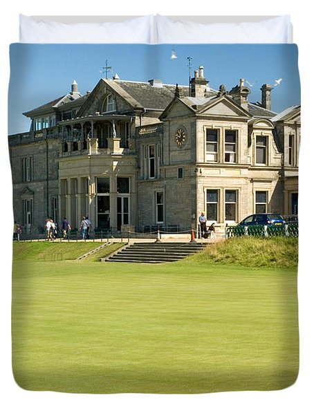 Duvet Cover featuring the photograph St Andrews Final Green And Clubhouse  by Jeremy Voisey