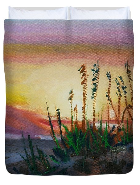 Beach At Sunrise Duvet Cover by Michael Daniels