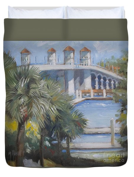 St Augustine Bridge Of Lions Duvet Cover by Mary Hubley