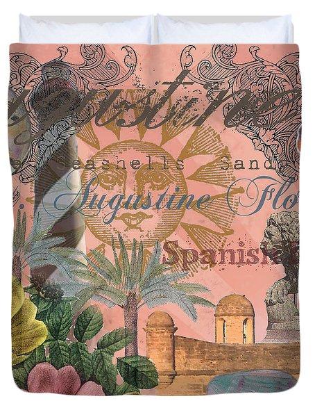 St. Augustine Florida Vintage Collage Duvet Cover