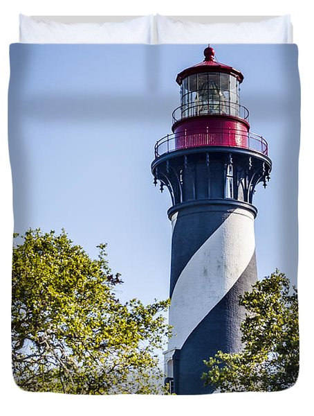 Duvet Cover featuring the photograph St. Augustine Lighthouse by Carolyn Marshall