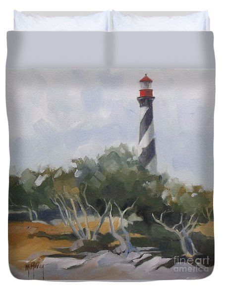 St Augustine Lighthouse First Light Duvet Cover by Mary Hubley