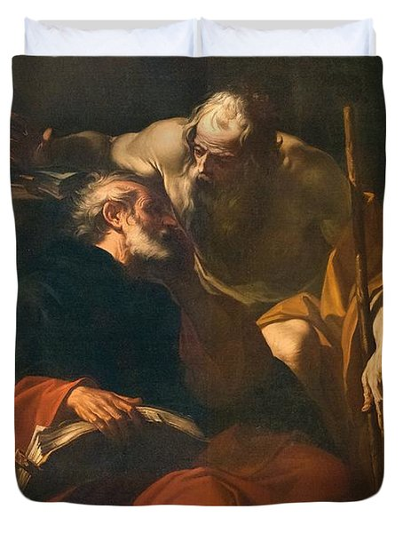 St. Benedict And A Hermit Duvet Cover by Domenico Maria Viani