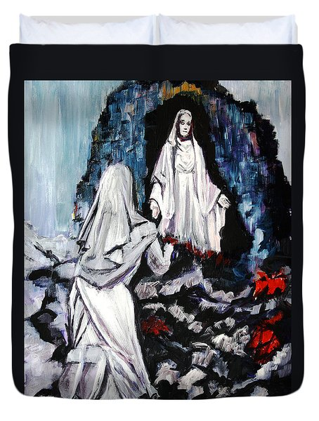 St. Bernadette At The Grotto Duvet Cover