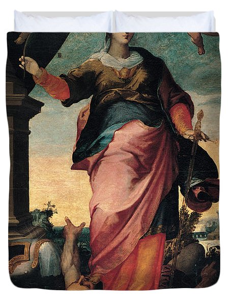 St Catherine Of Alexandria, 1570 - 1611 Duvet Cover by Il Sozzo