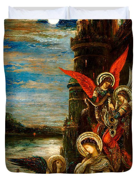 St Cecilia The Angels Announcing Her Coming Martyrdom Duvet Cover by Gustave Moreau