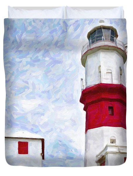 Duvet Cover featuring the photograph St. David's Lighthouse by Verena Matthew