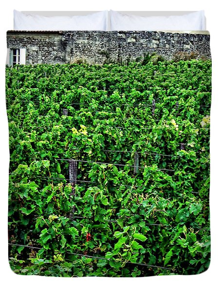 Duvet Cover featuring the photograph St. Emilion Winery by Joan  Minchak