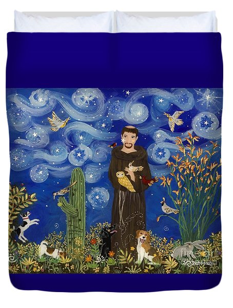 St. Francis Starry Night Duvet Cover by Sue Betanzos