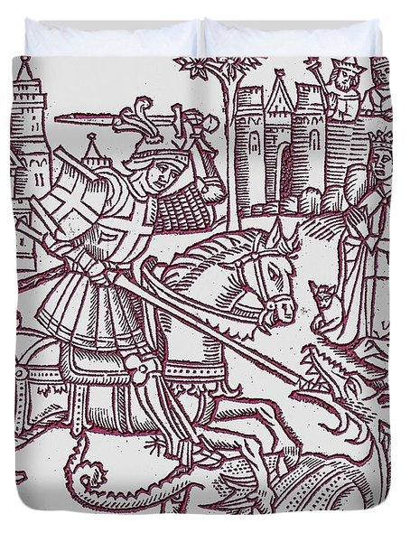 St. George - Woodcut Duvet Cover