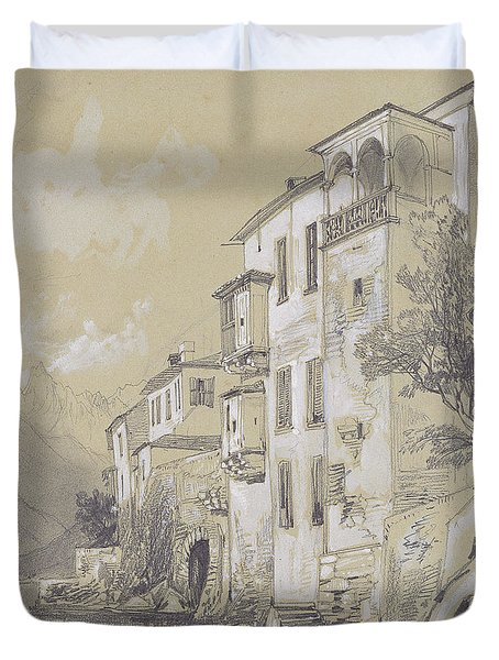 St Giulio Orta Duvet Cover by Edward Lear