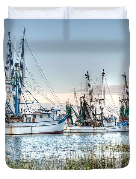 St. Helena Island Shrimp Boats Duvet Cover