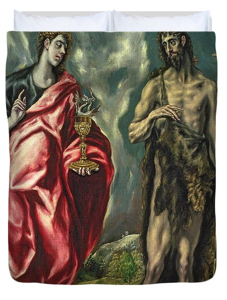 St John The Evangelist And St John The Baptist Duvet Cover by El Greco Domenico Theotocopuli