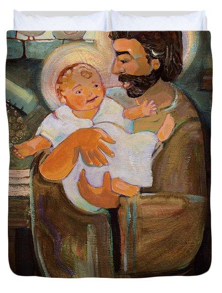 St. Joseph And Baby Jesus Duvet Cover
