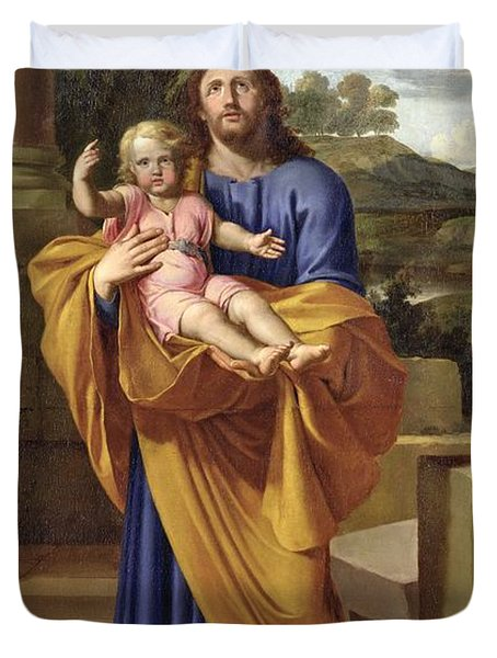 St. Joseph Carrying The Infant Jesus Duvet Cover by Pierre  Letellier
