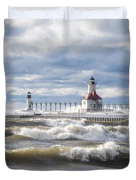 St Joseph Lighthouse On Windy Day Duvet Cover by John McGraw