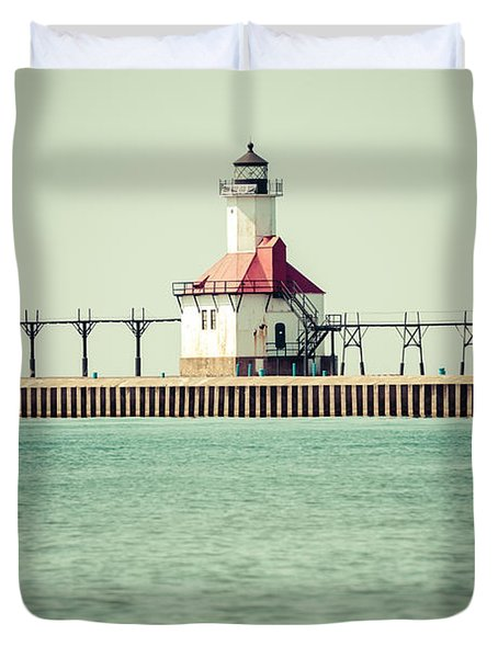 St. Joseph Lighthouse Vintage Picture  Duvet Cover by Paul Velgos