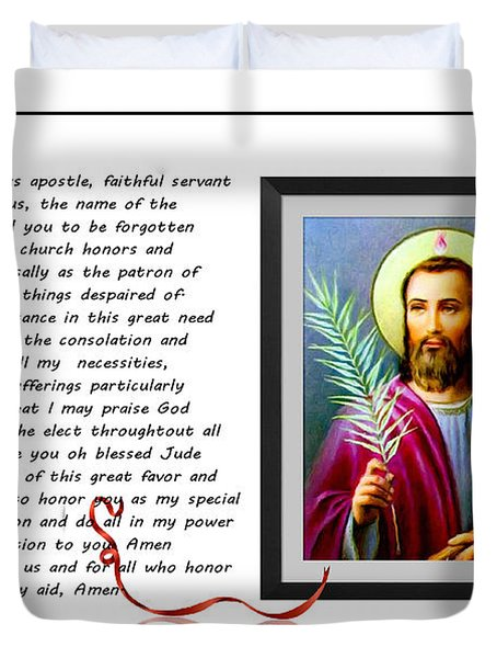 St. Jude Patron Of Hopeless Cases - Prayer - Petition Duvet Cover by Barbara Griffin