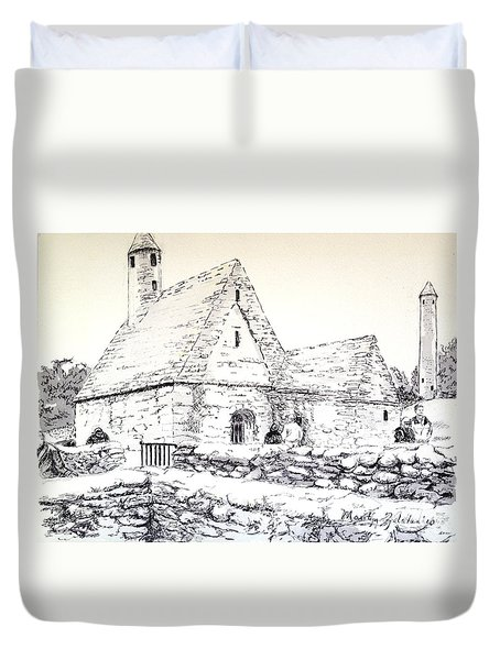 Duvet Cover featuring the drawing St Kevin's by Marilyn Zalatan