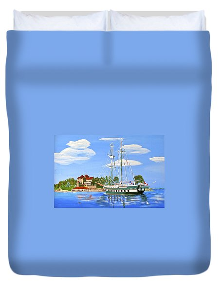 Duvet Cover featuring the painting St Lawrence Waterway 1000 Islands by Phyllis Kaltenbach