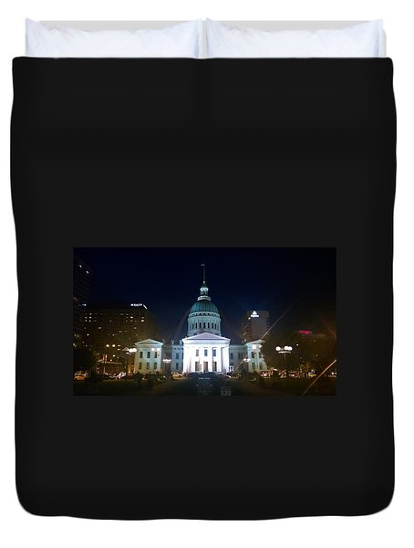 St. Louis At Night Duvet Cover by Chris Tarpening