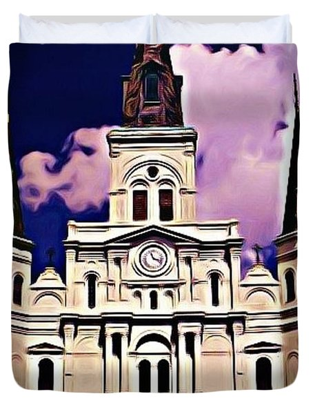 St Louis Cathedral In New Orleans Duvet Cover by John Malone