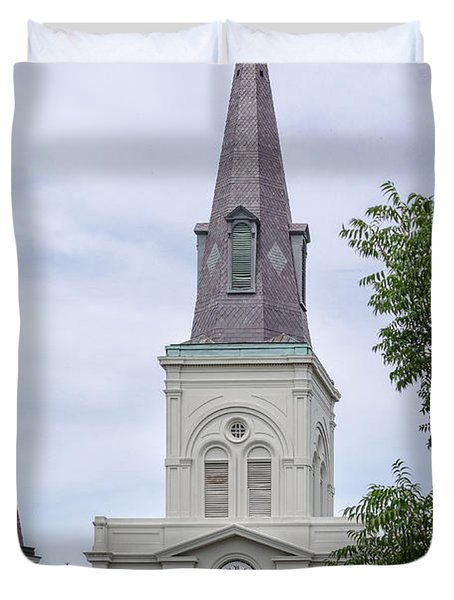 St. Louis Cathedral Through Trees Duvet Cover