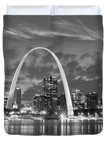 Duvet Cover featuring the photograph St. Louis Skyline At Dusk Gateway Arch Black And White Bw Panorama Missouri by Jon Holiday