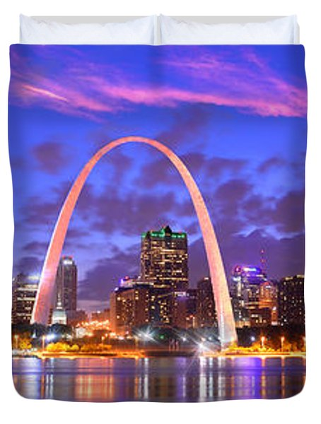 St. Louis Skyline At Dusk Gateway Arch Color Panorama Missouri Duvet Cover