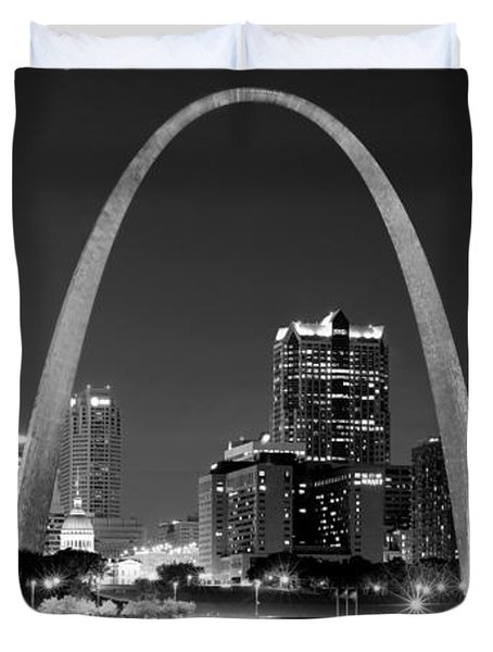 Duvet Cover featuring the photograph St. Louis Skyline At Night Gateway Arch Black And White Bw Panorama Missouri by Jon Holiday