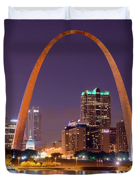 St. Louis Skyline At Night Gateway Arch Color Panorama Missouri Duvet Cover