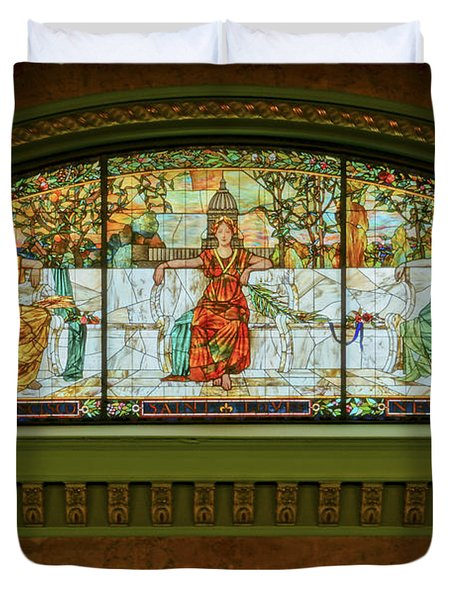 St Louis Union Station Allegorical Window Duvet Cover by Greg Kluempers