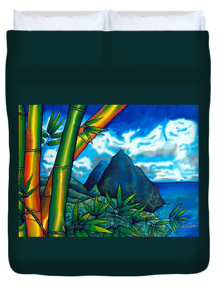 St. Lucia Pitons Duvet Cover