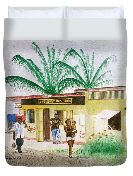 St. Lucia Store Duvet Cover by Frank Hunter