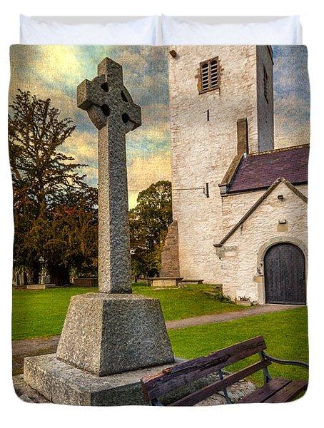 St. Marcellas Celtic Cross Duvet Cover by Adrian Evans
