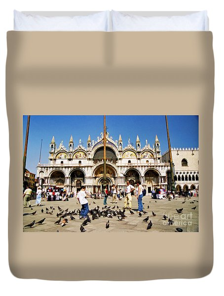 Duvet Cover featuring the photograph St. Mark's Basilica  by Allen Beatty