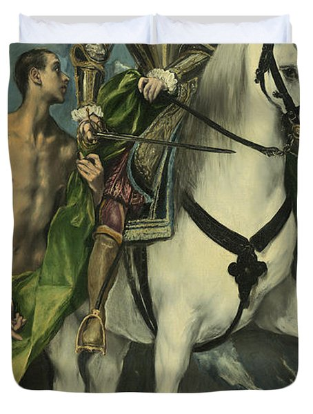 St. Martin And The Beggar Duvet Cover by Domenico Theotocopuli El Greco