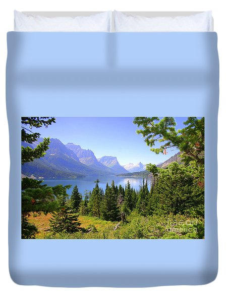 St. Mary Lake Duvet Cover by Bob Hislop