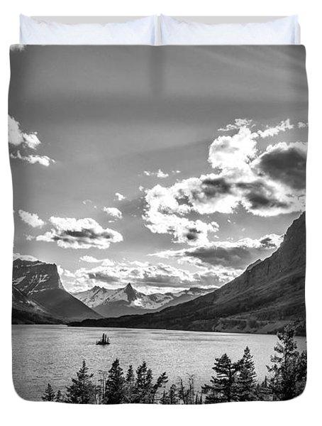 St. Mary Lake Bw Duvet Cover