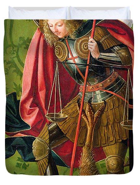 St. Michael Killing The Dragon  Duvet Cover
