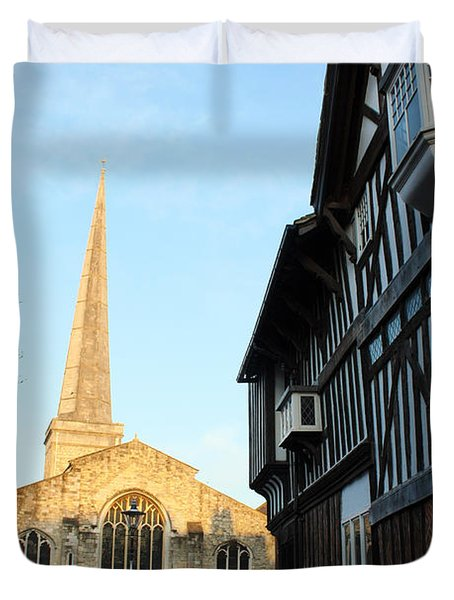 St Michael's Church And Tudor House Southampton Duvet Cover by Terri Waters